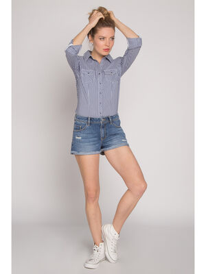 Short en jean destroy used denim stone femme