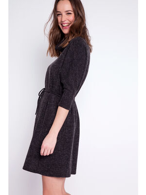 Robe pull col roule gris fonce femme