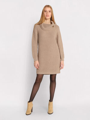 Robe pull droite col boutonne beige femme