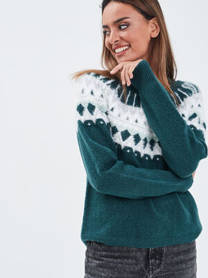 Pull col rond vert fonce femme