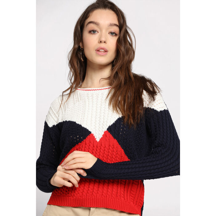 Pull manches longues col rond ecru femme