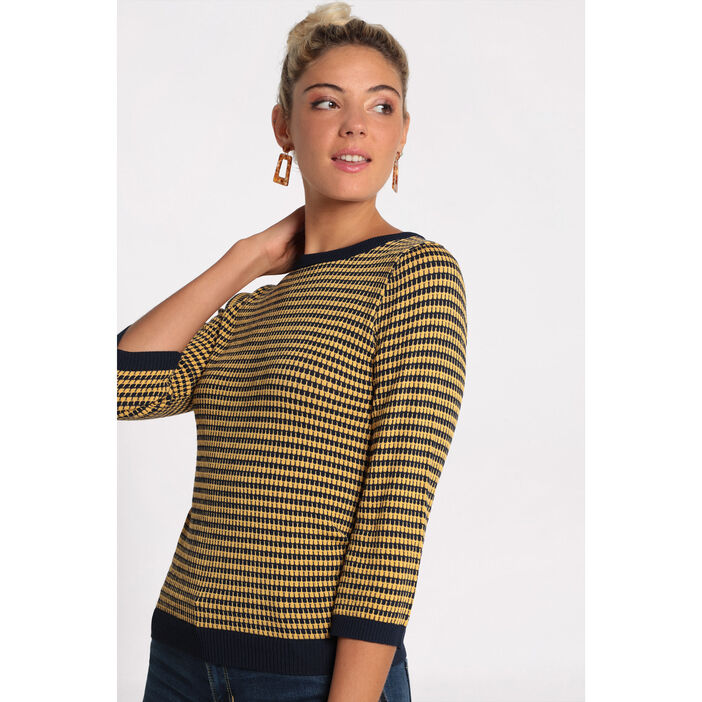 Pull manches 3/4 col rond jaune or femme