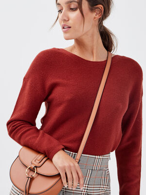 Pull manches longues dos zippe orange fonce femme