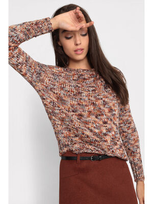 Pull manches longues col rond orange fonce femme