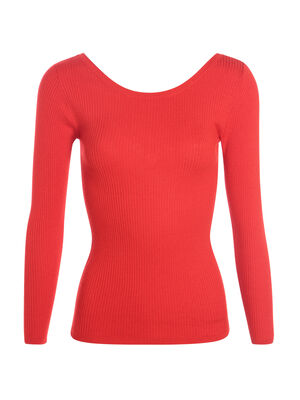 Pull cintre col rond rouge femme