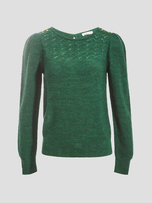 Pull manches longues froncees vert fonce femme