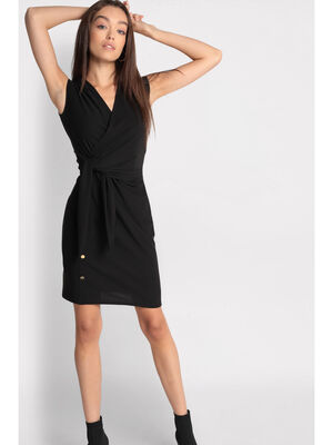 Robe cintree taille effet noue noir femme