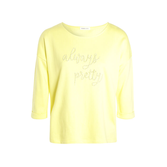 Sweat à message brodé jaune pastel femme