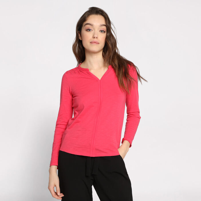 T-shirt manches longues rose framboise femme