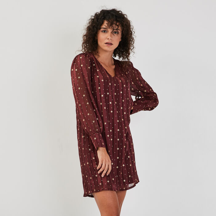 Robe droite manches longues prune femme