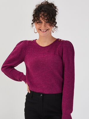 Pull manches longues froncees violet clair femme