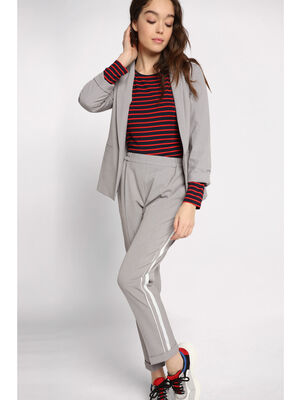 Pantalon city bandes laterales gris clair femme