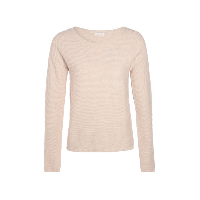 Pull maille ottomane boutons épaules beige femme