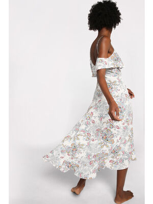 Robe longue evasee a volants blanc femme