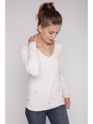 T shirt manches longues perles rose femme