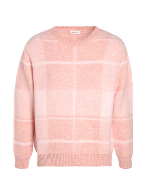 Pull manches longues col rond rouge clair femme