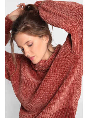 Pull manches longues col roule terracotta femme