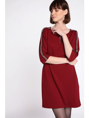 Robe manches 34 rouge fonce femme