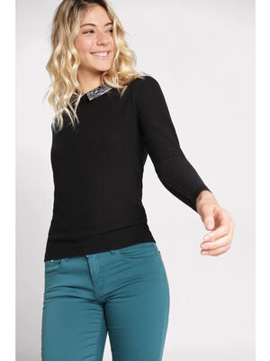 Pull manches longues a col noir femme