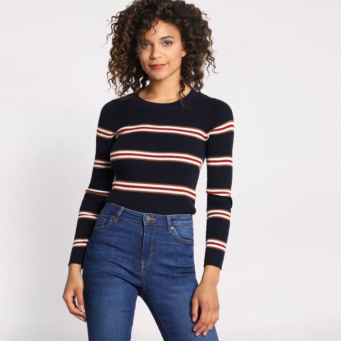 Pull manches longues col rond  femme