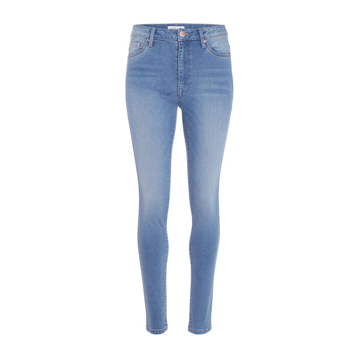 Jeans skinny taille haute used denim dirty femme