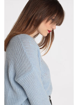 Pull ajoure col rond bleu clair femme