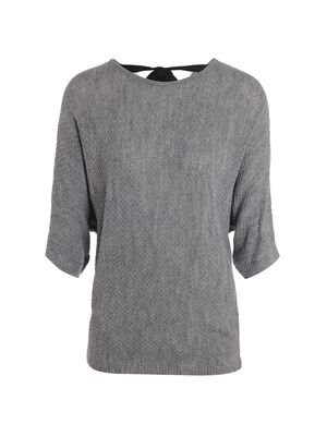 Pull manches 34 dos noue gris fonce femme
