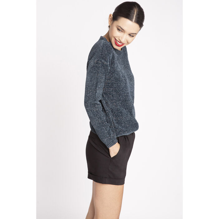 Pull manches longues en maille chenille bleu canard femme