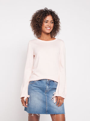 Pull uni a manches longues coulissantes rose clair femme