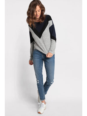 Pull manches longues col rond gris clair femme