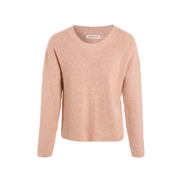 Pull col rond sable femme