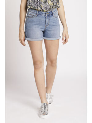 Short denim denim double stone femme