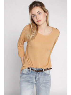 Pull manches 34 avec boutons jaune femme