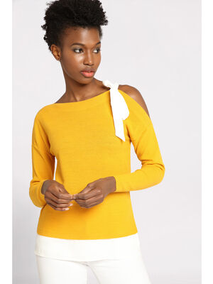 Pull manches longues a noeud jaune femme