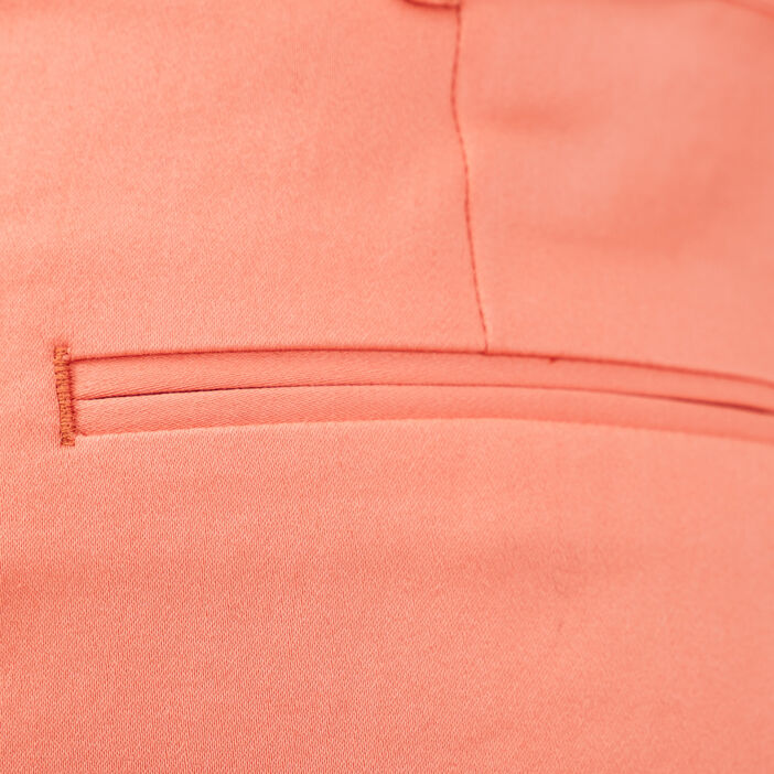Short droit ceinturé orange corail femme