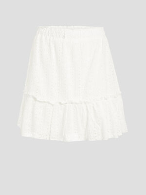 Jupe evasee broderie anglaise ecru femme