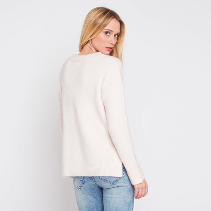 Pull doux col montant rose clair femme