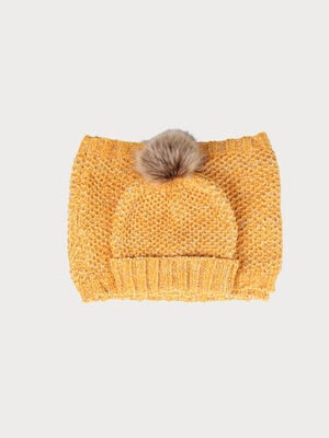 Set bonnet et snood maille chenille jaune moutarde femme