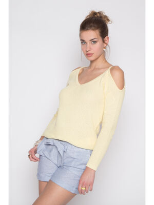 Pull maille nid dabeille decoupes jaune clair femme