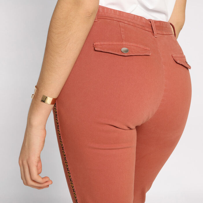 Pantalon chino slim 4 poches terracotta femme