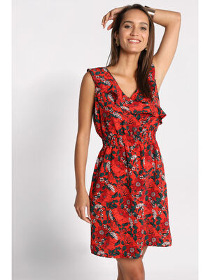Robe evasee col a volants rouge femme