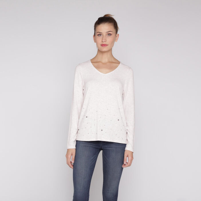 T-shirt manches longues perles rose femme