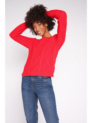 Pull manches longues a torsades rouge femme