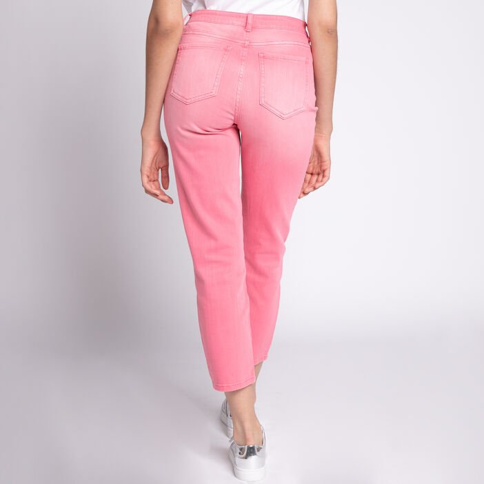 Jeans mom coton stretch uni rose femme
