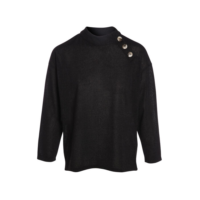 Pull manches longues boutons noir femme