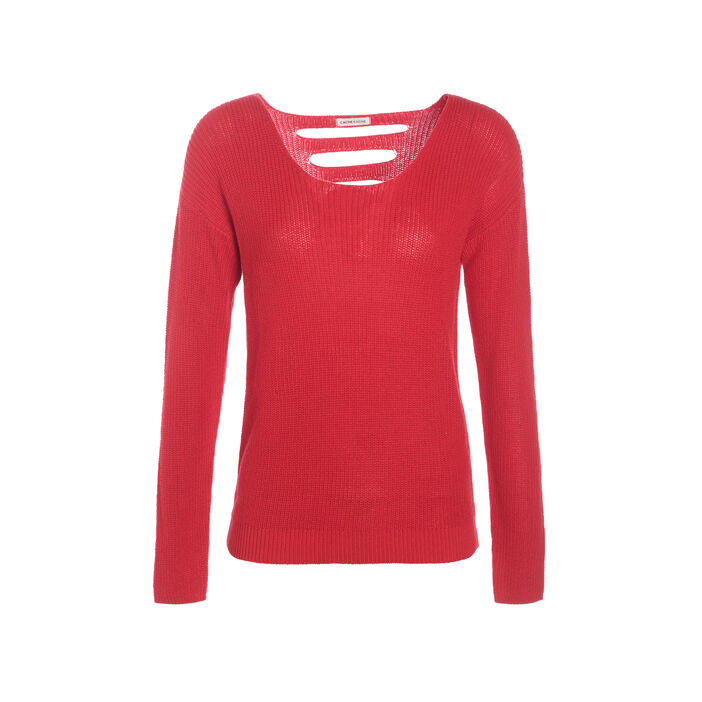 Pull manches longues dos fantaisie rouge femme