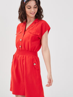 Robe evasee lyocell rouge femme
