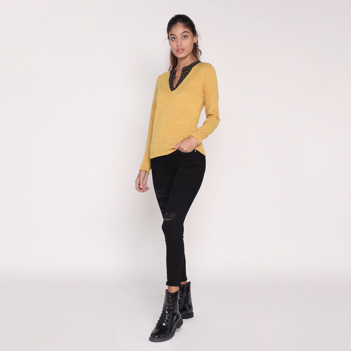 Pull doux col double jaune moutarde femme