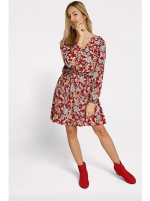 Robe droite taille elastiquee rouge fonce femme