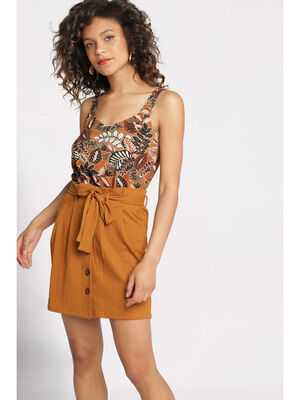 Jupe droite taille standard camel femme